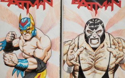 Luchador Batman and Bane full color sketches.