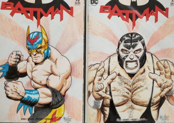 Luchador Batman and Bane full color sketches.