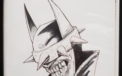 The Batman Who Lughs pen and ink sketch.