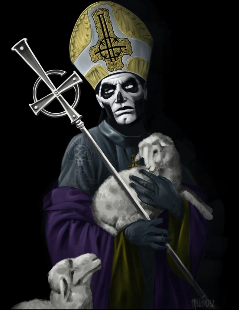 Papa Emeritus from the band Ghost holding a lamb.