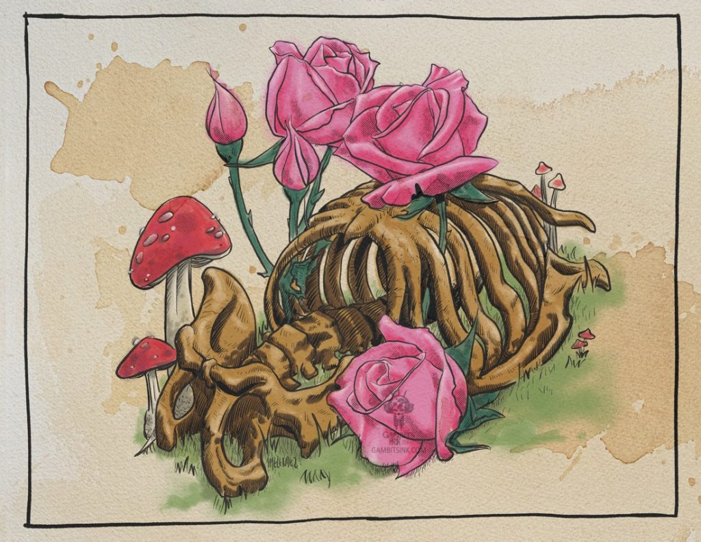 Pink Roses and Mushrooms